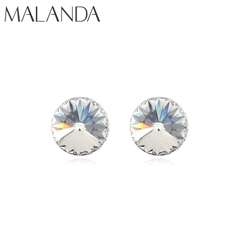 Us 3 99 20 Off Malanda Brand Round Real Crystals From Swarovski Earrings For Women New Fashion Stud Wedding Party Jewelry Gift In