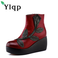 Ylqp Handmade Wedges Genuine Leather Boots Folk Style High Heeled Soft Bottom Women Shoes Woman Vintage