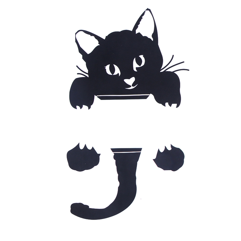 Cat Wall Stickers Light Switch Decor Decals Removable Funny Black Cat Art Mural Baby Nursery PVC Wall paper for Room slip-on shoe