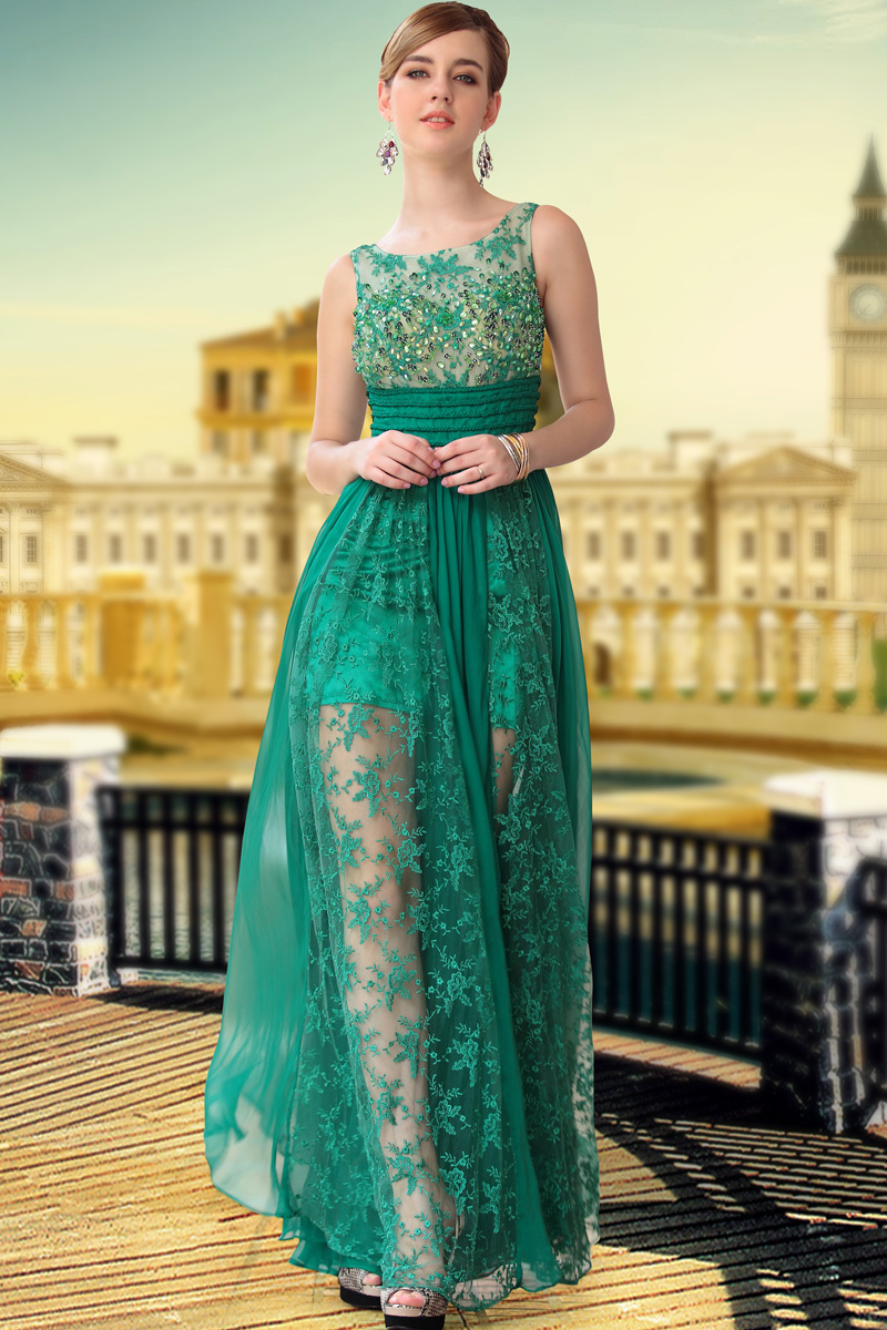 Free Shipping hot sale DORISQUEEN beaded 30650 floor length long Green Color Fashion See Through  Silk Chiffon Prom dresses 2015