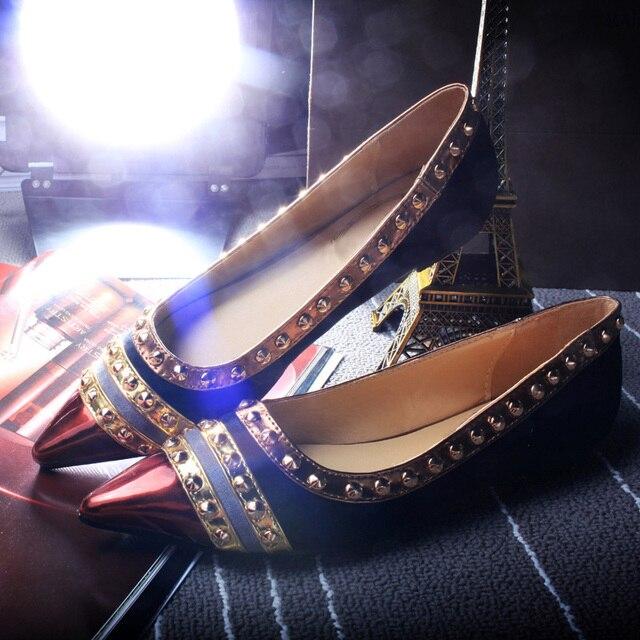 2016 Rivets Decoration Brand Shoes Flats Women Spring Autumn Fashion Womens  Flats Boat Shoes Sexy Ladies Plus Size QB 23659 3d5db6412d3a