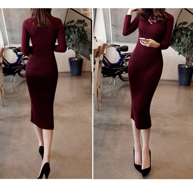New Turtleneck Women long sweater dress 2018 spring sexy slim Bodycon Dresses Elastic Skinny Dress Brief Knitted Dress vestidos
