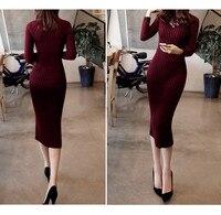New Turtleneck Women Long Sweater Dress 2017 Spring Sexy Slim Bodycon Dresses Elastic Skinny Dress Brief