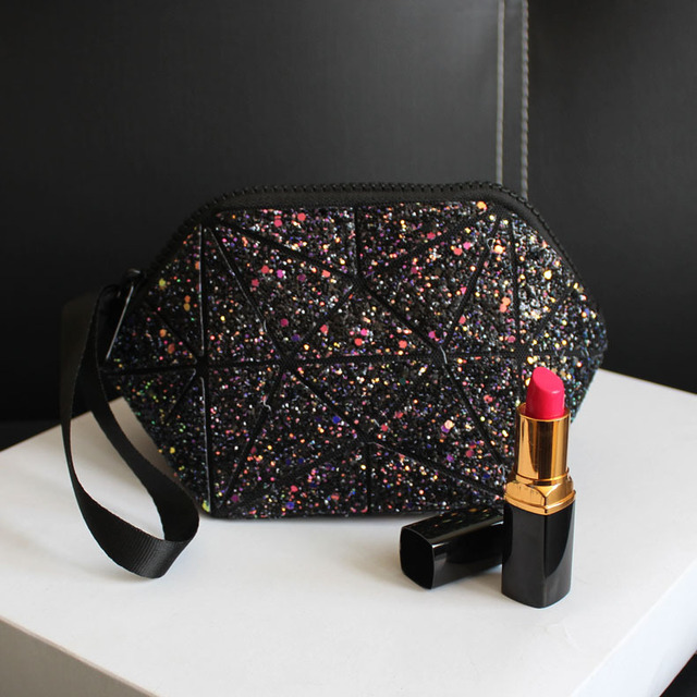 New Fashion Make Up Bag Sequins Pu Casual Cosmetic Bags Cases Women Makeup Pouch Travel Organizer