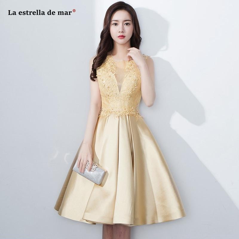 Wedding guest dress2019 new lace beaded satin ALine gold bridesmaid dress Tea Length vestido boda mujer invitada cheap