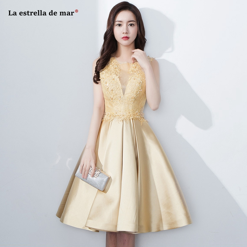 Wedding guest dress2019 new lace beaded satin ALine gold   bridesmaid     dress   Tea Length vestido boda mujer invitada cheap