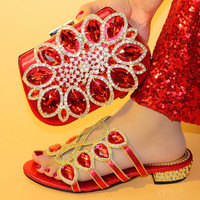 Newest Red Color Italian Shoes with Matching Bags Italian Design Wedding African Nigeria Shoes and Bag Set for Parties for Women