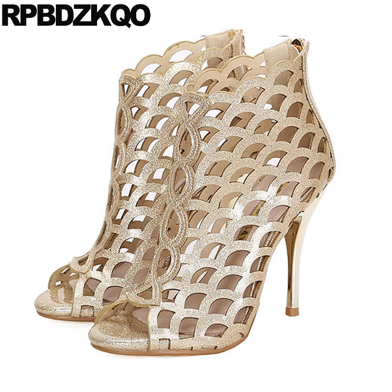 Designer Sandals Women Luxury 2018 High Heels Booties Summer Gold Plus Size Shoes Boots Cage Glitter Peep Toe Pumps Stiletto