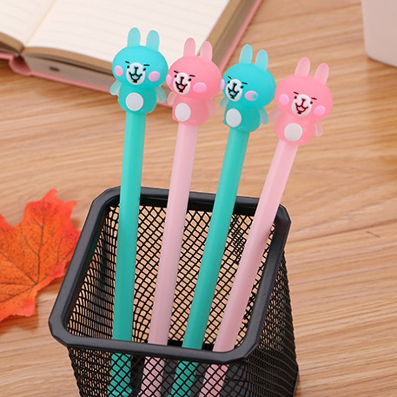 Korean Creative 3D Lovely Cute Jelly Pink Bear Gel Pen Cartoon Stationery Store Kawaii Anime Funny Stationary School Kids Items