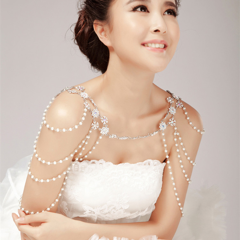 Crystal Pearl Bridal Shoulder Necklace Chain Wedding Rhinestone Zinc Alloy Shoulder Strap Chain Choker Necklaces Jewelry