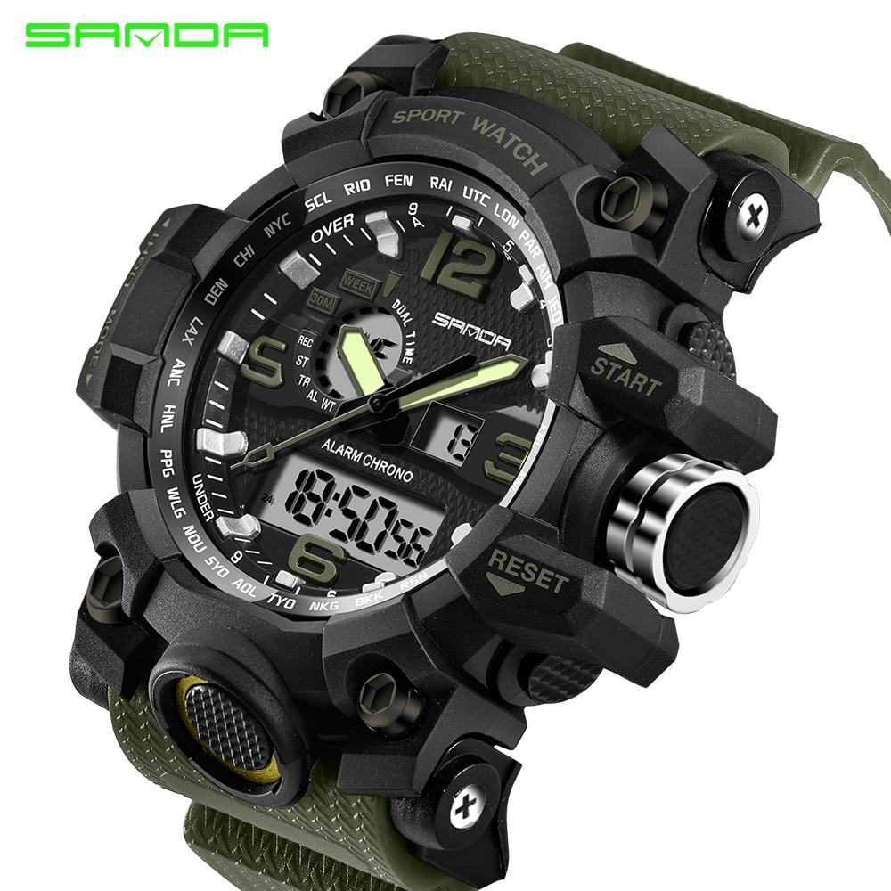 SANDA Top Brand Military Sport Watch Men's G Style Digital Watch Men Quartz Wristwatches 50M Waterproof Clock Relogio Masculino