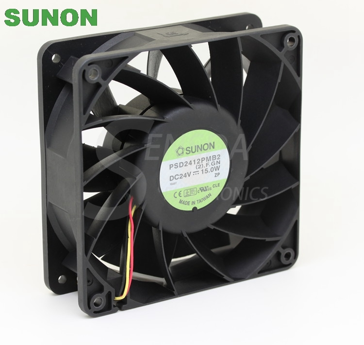 Original SUNON PSD2412PMB2 24V 15.0W cpu cooler heatsink axial Cooling Fan 12038 120x120x38mm 12cm computer cooler radiator with heatsink heatpipe cooling fan for hd6970 hd6950 grahics card vga cooler