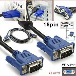Image 3 - 6FT 1.8 M VGA Maschio a Maschio Cavo SVGA Cavo del Monitor Blu Spina per Computer PC VGA Cavo del Display
