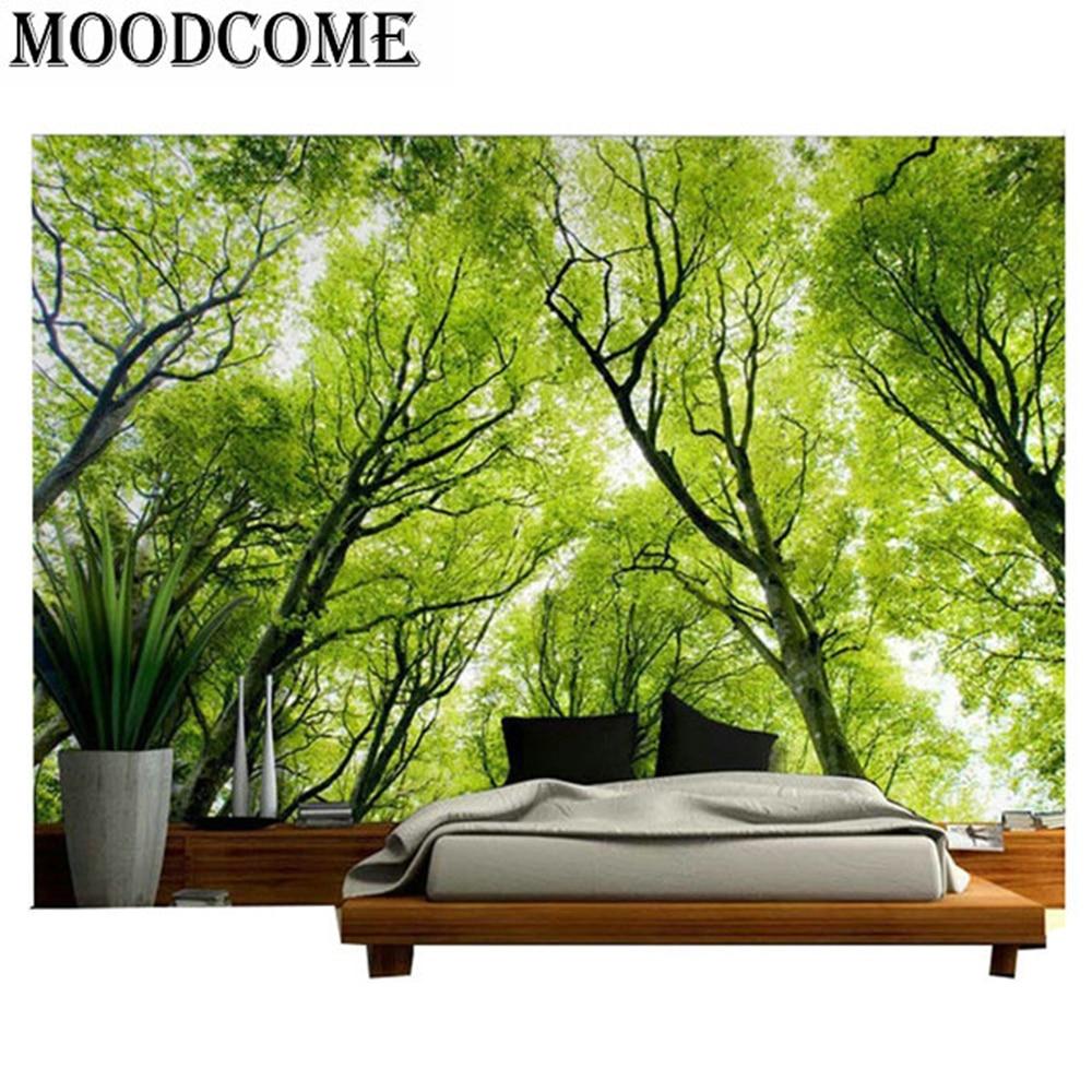 Vert arbres forestiers tapisserie maison décoratif wandkleed polyester 2017 nouveau design forêt mur couverture