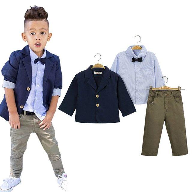 Boys Gentleman Cotton Clothing Set,High quality Kids Suit jacket+T-Shirt+Pants 3Pcs Sport Clothes Suit,Boys Spring Clothes