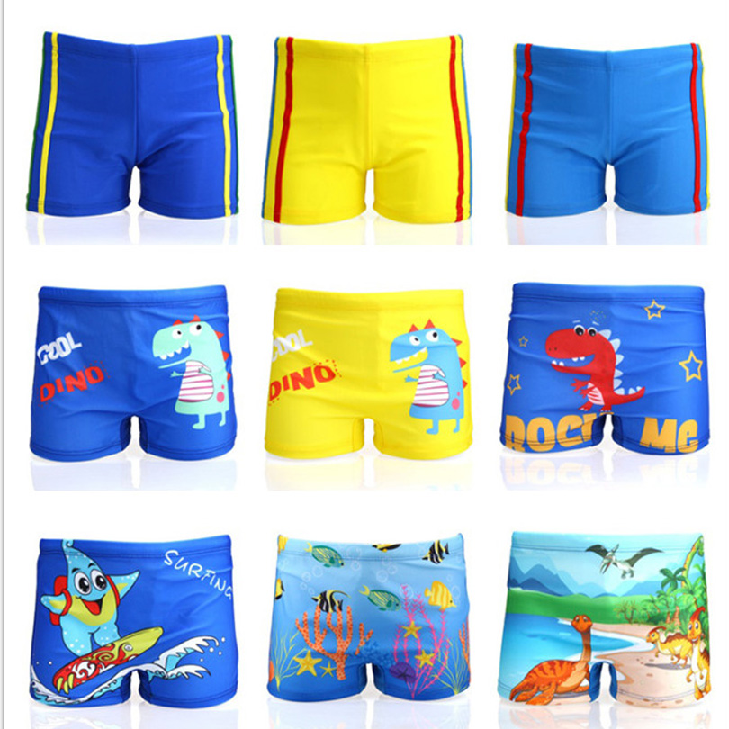 Cartoon Fish Wave Pattern Kids Swimsuits Boys Swimming Cap Top Shorts Swimsuits