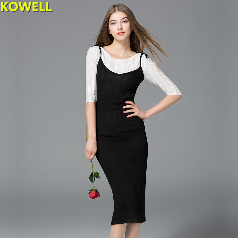 Hot 2018 Summer Clothes For Women Sweater Dress Solid Color V-Neck Lady Spaghetti Strap Knit Sexy & Club Bodycon Pencil Dresses