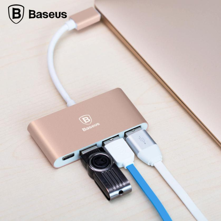 Binmer Superior Quality Baseus Type-C to Type-C and 3 USB Ports HUB Adapter For New Macbook for Google ZNOV0938
