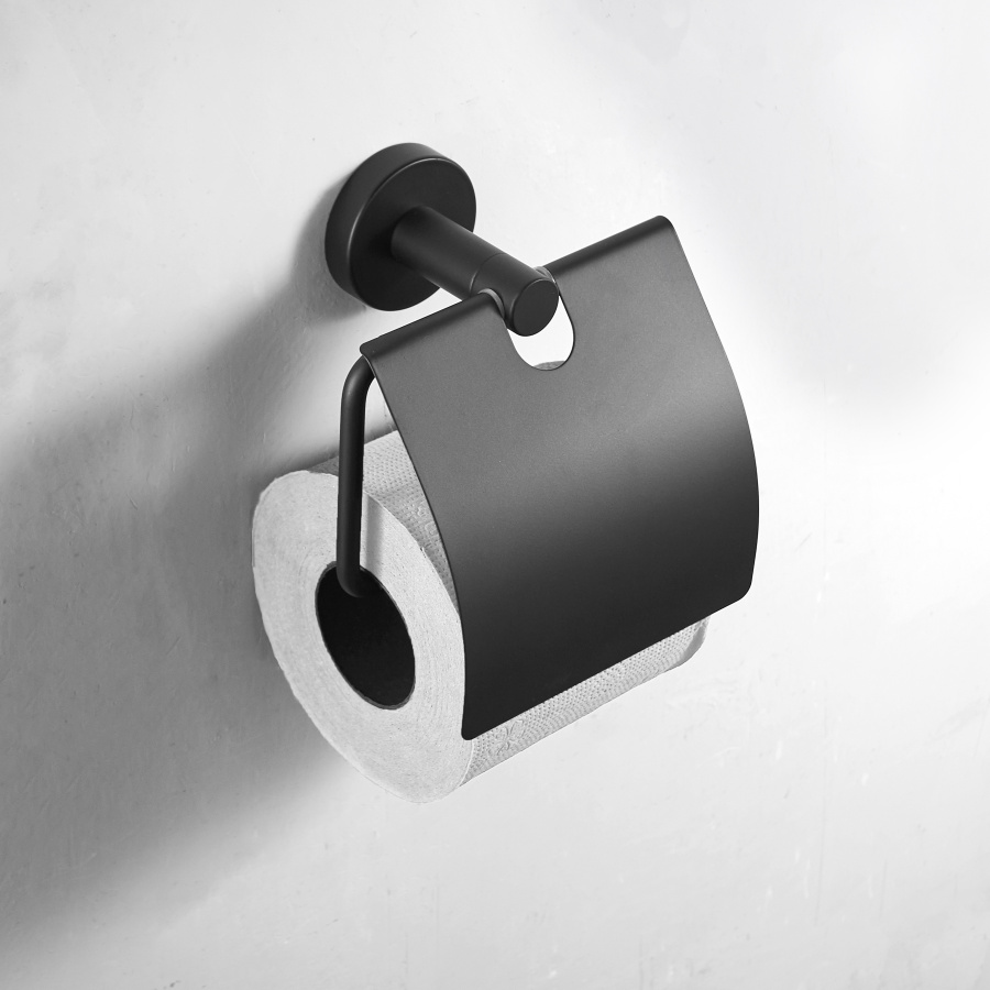 Concise Black Wall Mount Toilet Paper Holder Bathroom Stainless Steel Roll Paper Holders With Cover Bathroom hardware