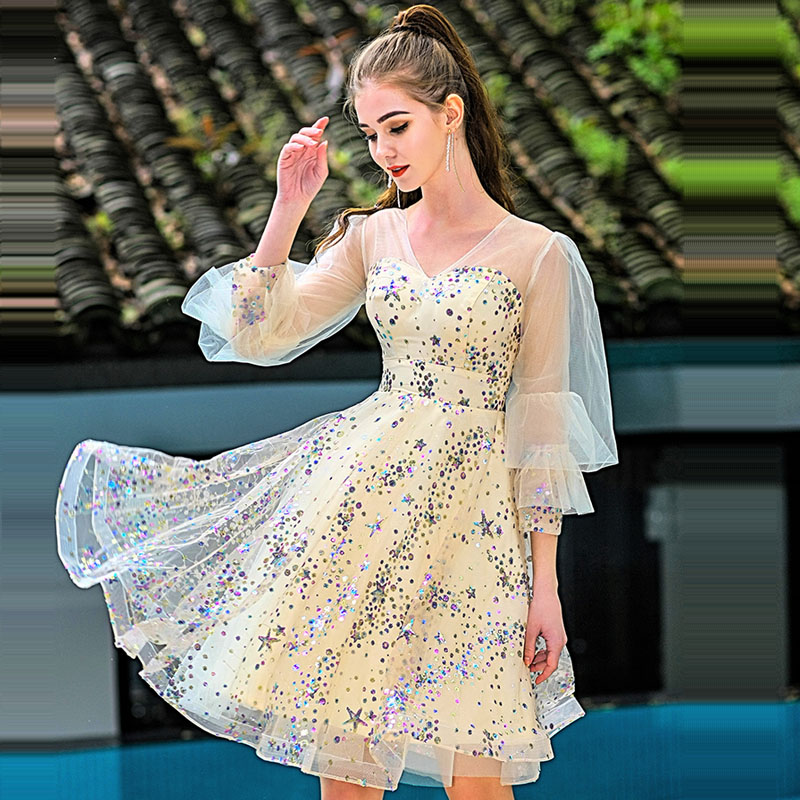 Cocktail Dress Gold Sexy Deep V-neck Woman Party Dresses 2019 Sequin Plus Size Slim Long Sleeve Zipper Robe Cocktail Gowns E631