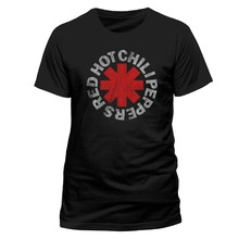 Retro Shirts Short Men Red Hot Chili Peppers Distressed Asterisk O-Neck Best Friend