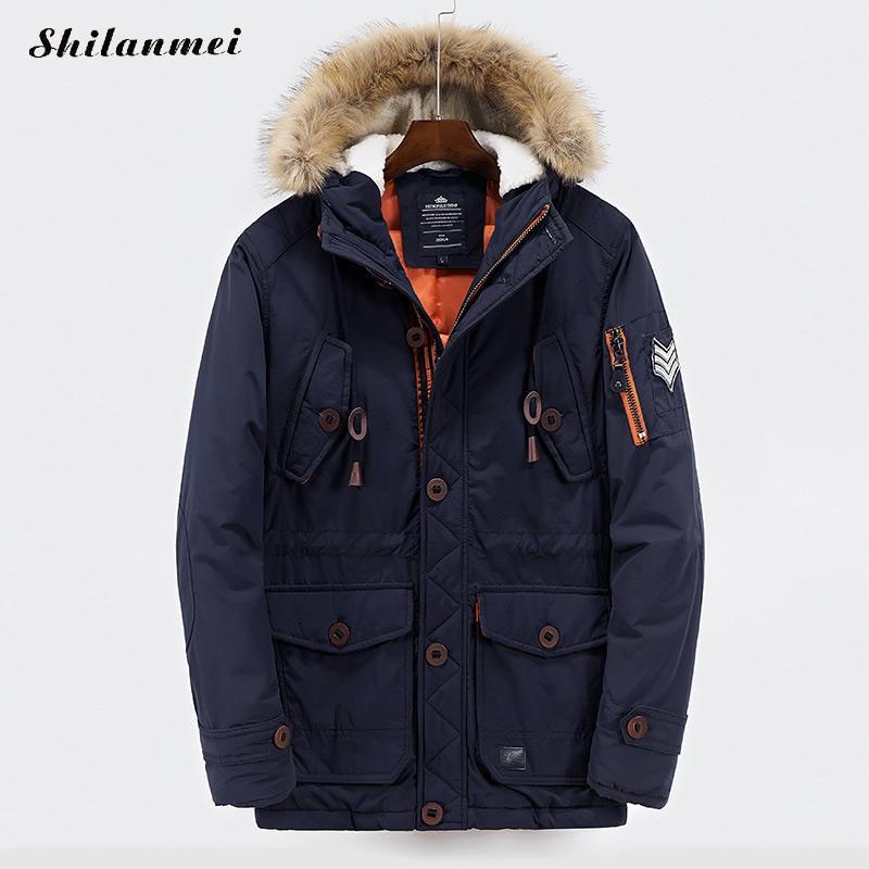 Men's Parkas With Hat Navy Blue Winter Jacket For Men Hooded Collar Zipper Blakc Patchwork Loose Male Coat Thicken Warm Outwear куртка everlast hooded bubble navy купить