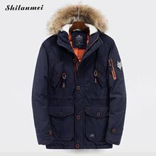 Men's Parkas With Hat Navy Blue Winter Jacket For Men Hooded Collar Zipper Blakc Patchwork Loose Male Coat Thicken Warm Outwear