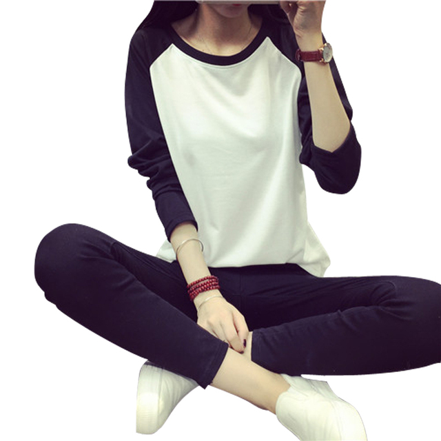 T shirt женщины 2015 Новый Корейский заклинание цвет письма печати футболка свободные длинными рукавами плюс размер футболка женщины топы poleras де mujer