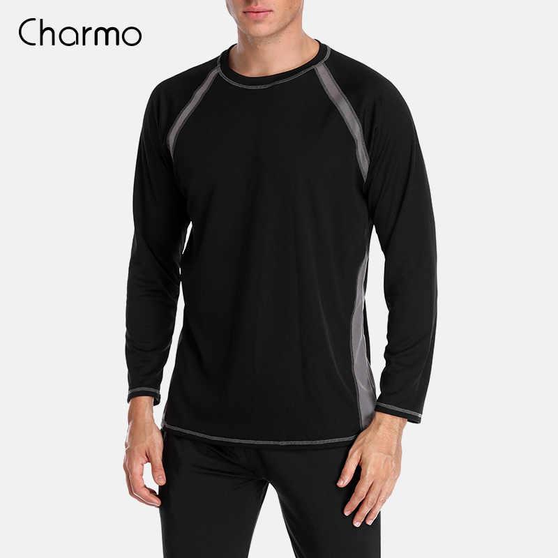 Charmo hombres de manga larga Rashguard camisas de ajuste seco hombres de buceo camisa de Surf protección UV Rash Guards superior UPF 50 + Patchwork ropa de playa