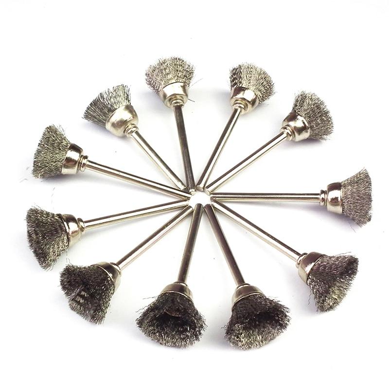 10ks mini rotační z nerezavějící oceli dráty kartáče malé - Brusné nástroje - Fotografie 1