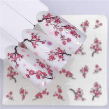 Plum blossom 1 Sheet Water Transfer Nail Sticker Decals Fruit Cream Cake Cat Beauty Decoration Designs DIY Color Tattoo Tip(China)