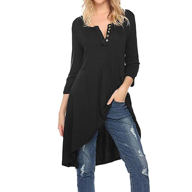 04128409c44a6 2018Tops Women V-neck Polyester Blouses 3 4 Sleeve Female Shirt Fashion  Large Size Plus Size Feminina Camisas Blusas