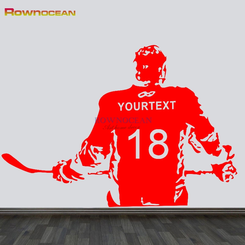 Personalized Customized Text & No.Ice Hockey Player NHL Sport Boy Room Mural Decor Wall Art Vinyl Decal Sticker Mural D527 image