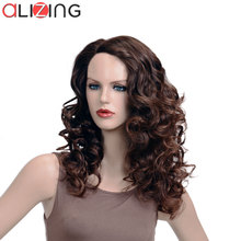 Alizing Front Lace Wig Brown Color L Part lace frontal Synthetic Hair Long Big Curly wave Wigs For Africa k016