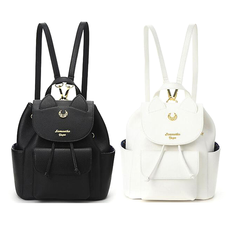 Sailor Moon Women Backpack PU Leather Backpack Multifunction Black White Luna Cat Ladies Backpack Girls Travel Back Pack