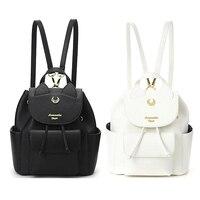 2019 Sailor Moon Women Backpack PU Leather Backpack Multifunction Black White Luna Cat Ladies Backpack Girls Travel Back Pack