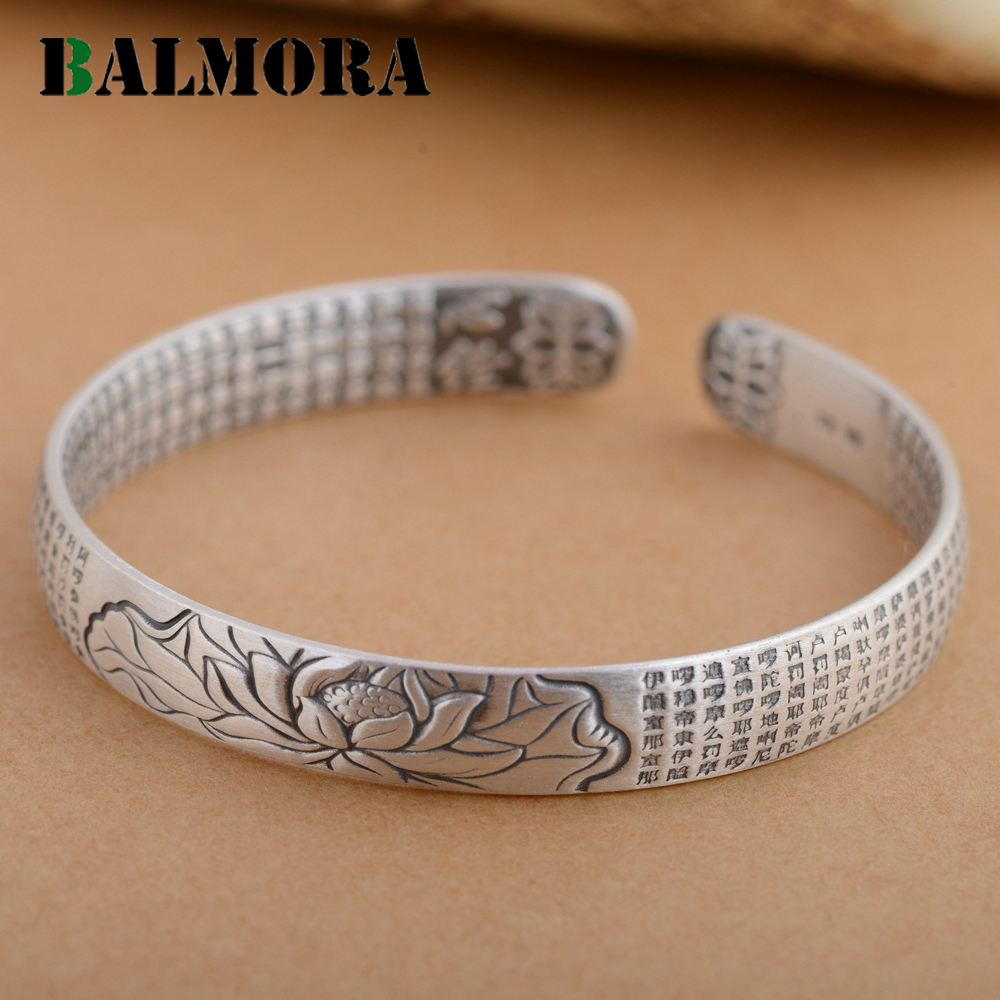 BALMORA 100 Real 999 Pure Silver Buddhistic Sutra Lotus Bangles for Women Men Gifts Open Bangle