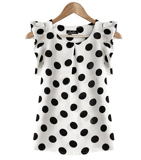 T 2017 Summer New women wave point chiffon short shirt casual lotus leaf short-sleeved slim fashion women white shirt plus size