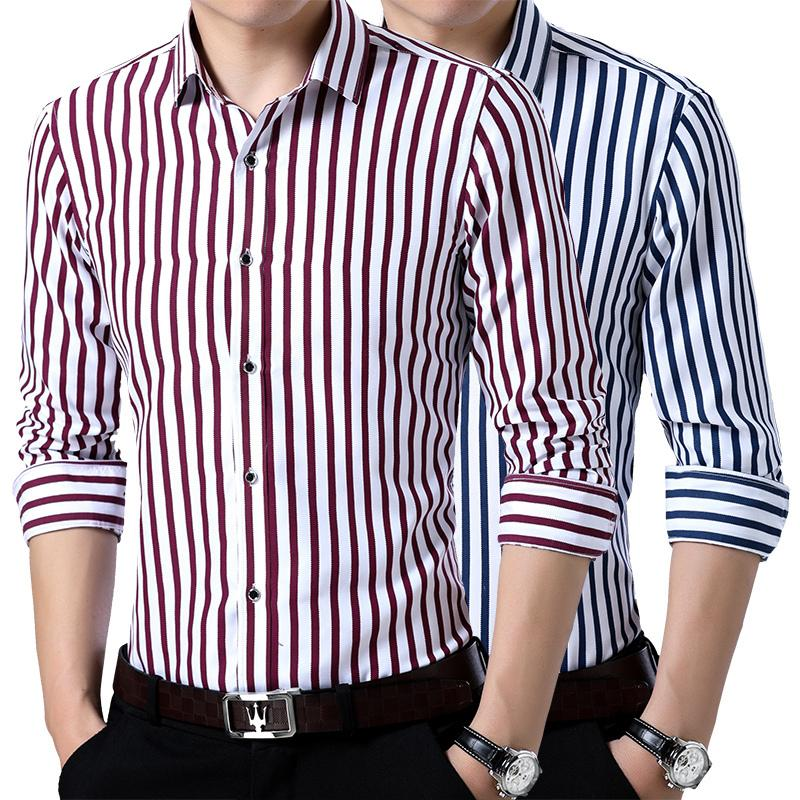LOLDEAL Spring and Summer Mens Printed Vertical Stripes Long-sleeved Shirt Korean Japanese Strip