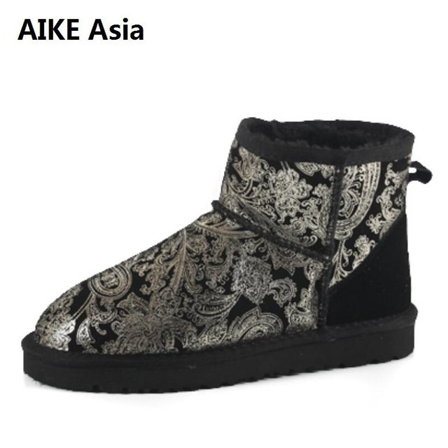 4632994e6 5854 Printed Low Tube Snow Boots Beef Tendon Flat Bottom Large Size 33 42  Women Winter