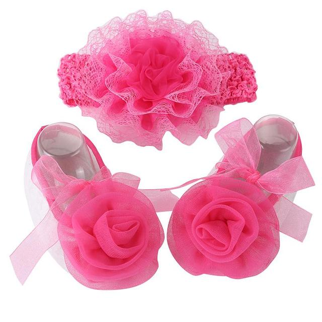 Hot pink flower newborn baby girl shoes headband setsapatos para hot pink flower newborn baby girl shoes headband setsapatos para bebeballerina booties mightylinksfo