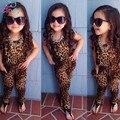 2016 leopardo de las muchachas de manga corta ropa de los niños del leopardo de Europa y América de manga corta conjuntos