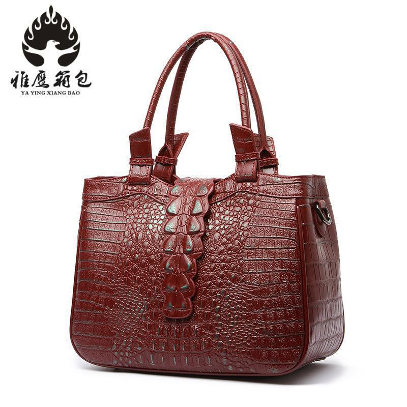 Brand 2018 New Fashion Alligator Print Cow Genuine Leather Women Handbags Boston Type Female Shoulder Bag Ladies Crossbody Bags new arrival 2017 vintage cow leather handbags women genuine leather shoulder bags boston bag fashion ladies crossbody bag