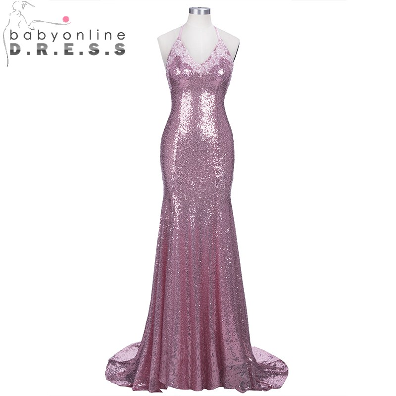 Babyonlinedress Luxury Sequined Mermaid Pink   Prom     Dresses   Long Charming Halter Neck Bow Tie   Prom   Gown with Spaghetti Straps