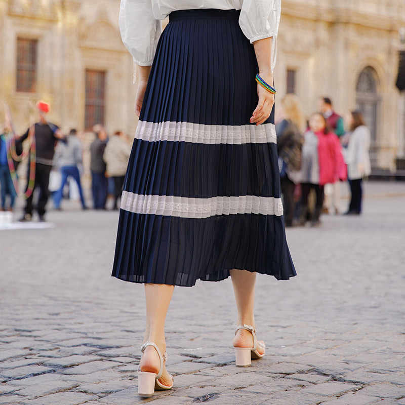 INMAN 2019 lato jest New Arrival linia w paski długie kobiety moda elegancka spódnica