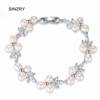 SINZRY Bridal Elegant Jewelry Cubic Zironia Natural Pearl Charm Bracelets Lady Wedding Flower Bracelets