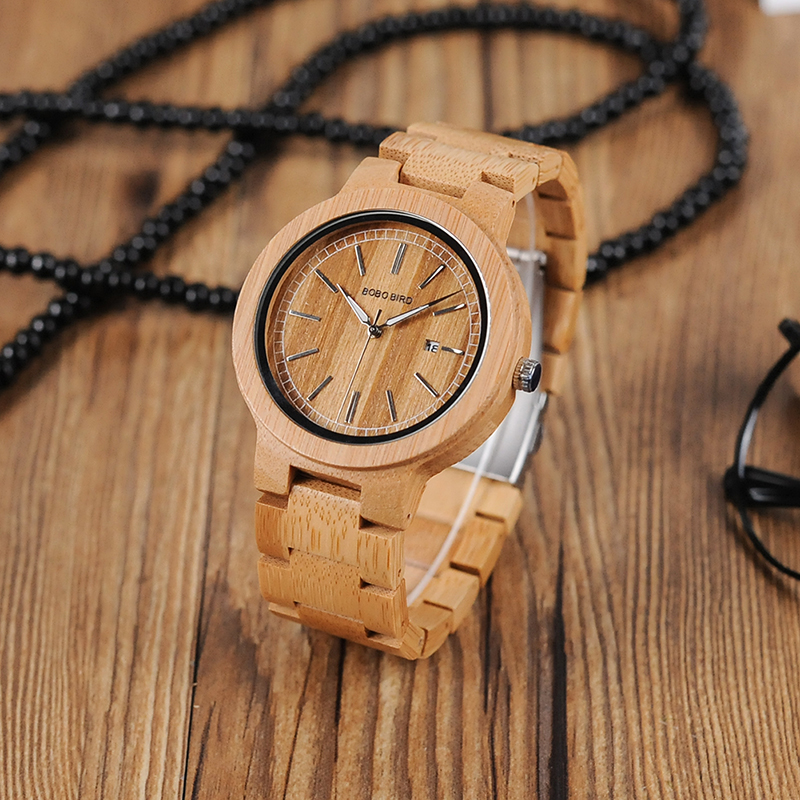 BOBO BIRD Luxury brand bamboo wooden Men Wood Quartz Wrist watches Band as Gift customized bobo bird l b08 bamboo wooden watches for men women casual wood dial face 2035 quartz watch silicone strap extra band as gift