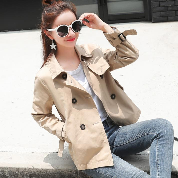 2018 Autumn New Women Short Trench Button Casual Turn-Down Collar Loose Coats Double Breasted Short Outerwear
