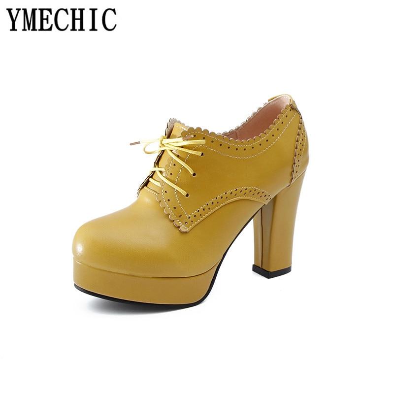 Ymechic Vintage jaune À Talons Femme Chaussures Beige Décontractés Beige Richelieu Chunky Noir noir Bloc Escarpins xingse Jaune 2018 Gladiateur forme Hauts Lacets Pour Dame Plate r5qgAtxrFw