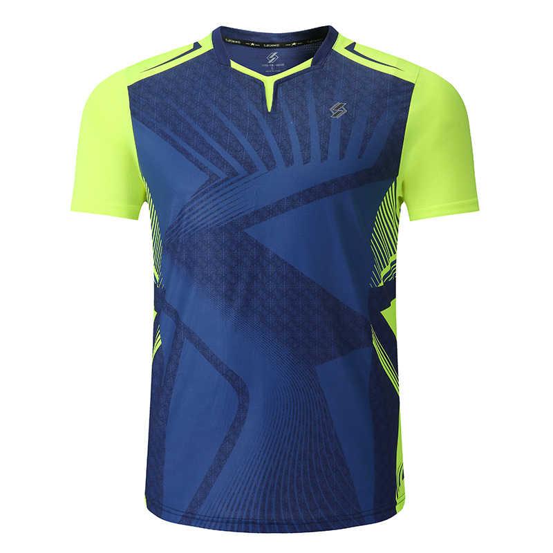 Новая рубашка для бадминтона, Спортивная теннисная рубашка для женщин/мужчин, спортивные футболки для настольного тенниса, одежда для тенниса, сухая рубашка для упражнений Qucik 3899